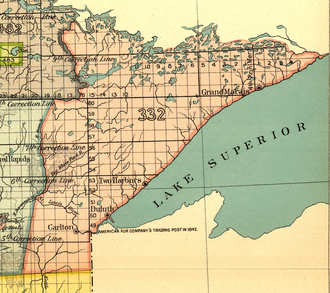 Treaty of La Pointe - Land ceded in 1854 in the Treaty of La Pointe, designated 332 (pink) on the map.