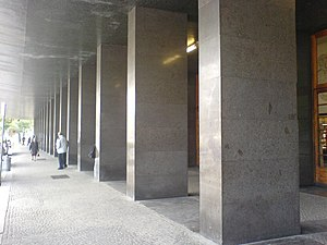 Angiolo Mazzoni - Trento station, front colonnade