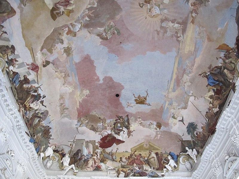 [peinture] Vos oeuvres préférées - Page 2 800px-Treppenhaus_Residenz_W%C3%BCrzburg_Deckenfresco_04