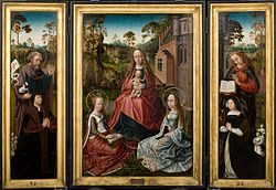 anonymous: Triptych with Madonna and Saints Catherine and John with donors Jan Pardo and Catharina van Vlamynckpoorte