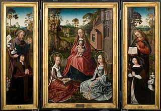 Triptych with Madonna and Saints Catherine and John with donors Jan Pardo and Catharina van Vlamynckpoorte