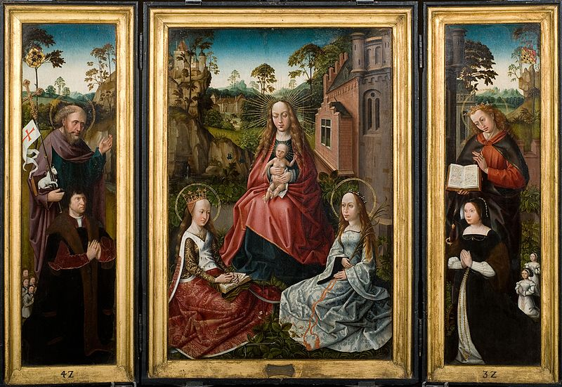 File:Triptych with Madonna and Saints Catherine and John with donors Jan Pardo and Catharina van Vlamynckpoorte.jpg