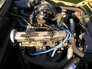 Triumph slant-four engine - Triumph slant-four in a 1973 Saab 99L