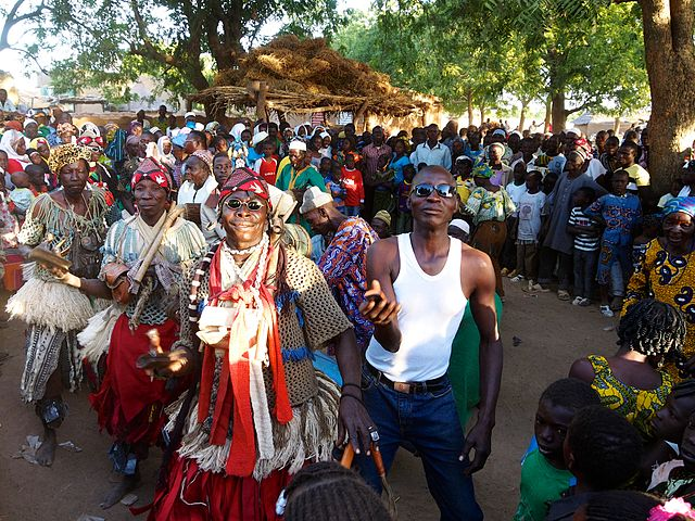 The dance company of Andemtenga in action during the Nakoobo ceremony of the mossi chief Naaaba Zomb Wobgo at Andemtenga, province Kouritenga, Burkina Faso