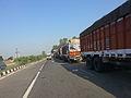 Trucks on NH1, waiting to cross Wagah border.jpg