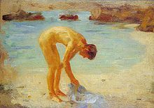 "Tuke, Henry Scott (1858–1929) - 1928 - Figure study for ""Aquamarine"".jpg"