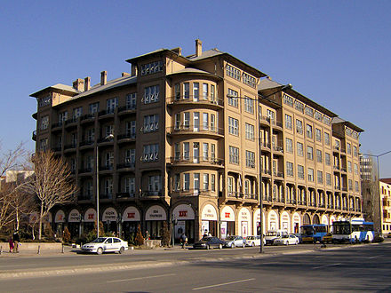 The historic Evkaf Apartment (1929) is the headquarters of the Turkish State Theatres. The building also houses the Kucuk Tiyatro and Oda Tiyatrosu. TurkishStateTheatresHeadOfficeInAnkara.JPG