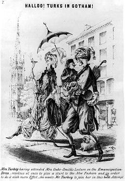 ファッション・ブルーマーズのカリカチュア(1851年)。Turks-in-Gotham-1851-Bloomer-parody
