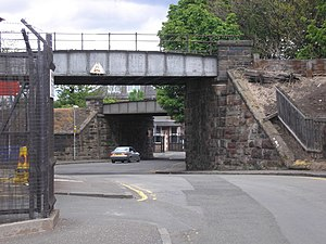 North British Distillery - The conglomeration of railway lines around the entrance (located under the second bridge) to the North British Distillery in Wheatfield Road, Gorgie