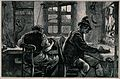 Two men are sitting at a work bench making musical instrumen Wellcome V0040442.jpg