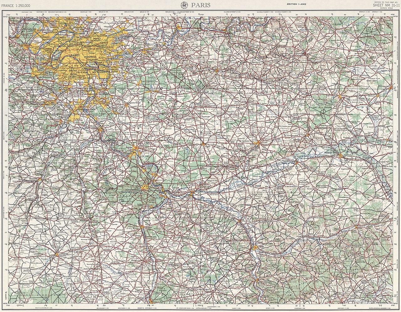Map France 987.File U S Army Map Service Paris 1954 The University Of Texas At