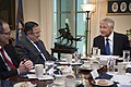 U.S. Defense Secretary Chuck Hagel, right, hosts a meeting with Egyptian Foreign Affairs Minister Nabil Fahmy at the Pentagon, April 30, 2014 140430-M-EV637-011.jpg