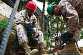 U.S. Marine Corps Lance Cpl. Jaicinio Jarrettsoto, left, and Pfc. Luis Maranon, a water support technician and bulk fuel specialist, respectively, with the 9th Engineer Support Battalion, 3rd Marine Logistics 130725-M-MG222-003.jpg