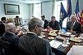 U.S. Secretary of Defense Chuck Hagel, right, meets with Tunisian Minister of Defense Rachid Sabbagh, left, and Deputy Secretary of Defense Ash Carter, second from right, at the Pentagon in Arlington, Va 130528-D-BW835-092.jpg