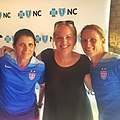 UNC Women's Soccer Teammates Mia Hamm, Emily Record and Kristine Lilly (18459110484).jpg