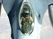 F-16 pilot in flight