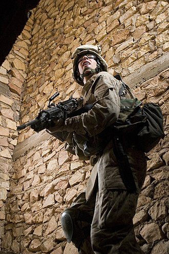 1st Battalion, 2nd Marines - A Marine from 1st Battalion clears a building in Iraq