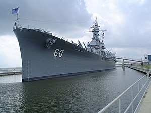 A bow shot of the USS Alabama (BB-60) located ...
