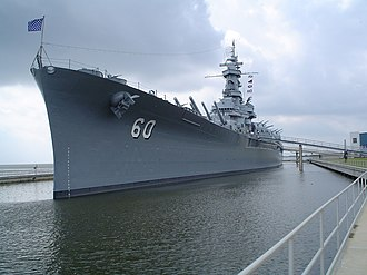 USS Alabama (BB-60) - USS Alabama at permanent berth.