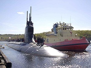 USS Connecticut (SSN-22) departing on her first scheduled deployment on 1 May 2002