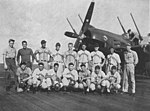 USS Kearsarge (CV-33) baseball team with VF-3A F8F-1 Bearcat in 1947.jpg