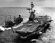 USS Ticonderoga (CVA-14) refueling from USS Ashtabula (AO-51) off Vietnam c1966