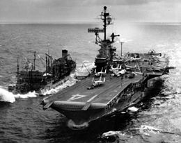 USS Ticonderoga (CVA-14) refueling from USS Ashtabula (AO-51) off Vietnam c1966.jpg