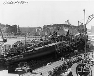 USS Wahoo (SS-238) - Wahoo prior to launching. Notice signature of Richard O'Kane, who was her executive officer at the time