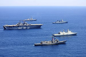 USS Wasp (LHD-1) with multi-national escorts underway 2012.jpg