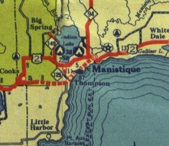 U.S. Route 2 in Michigan - Image: US 2 near Manistique in 1936