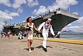 US Navy 030426-N-3228G-022 Electronics Technician 2nd Class Richard Barber and wife go out for liberty after his ship the aircraft carrier USS Abraham Lincoln (CVN 72) pulled into Pearl Harbor for a brief port visit.jpg