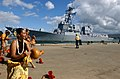 US Navy 040910-N-9076B-064 Sailors aboard the Navy's newest and most advanced Arleigh Burke-class guided missile destroyer USS Chung-Hoon (DDG 93), are greeted by Hawaiian hula dancers.jpg