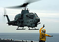 US Navy 050112-N-5313A-024 Aviation Boatswain's Mate 3rd class Jabin Rose from Palm Coast, Fla., directs an AH-1W Cobra helicopter on the flight deck of the amphibious assault ship USS Kearsarge (LHD 3).jpg
