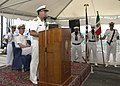 US Navy 060627-N-9380A-090 Commander, Italian Task Group, Rear Adm. Salvatore Ruzittu, addresses the audience during the Combined Task Force One Five Two (CTF-152) Transfer of Control ceremony, aboard the guided-missile frigate.jpg