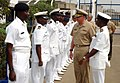 US Navy 070124-N-0000S-039 Director, Navy Europe-Africa Policy, Resources and Strategy, Rear Adm. Phil Greene, reviews troops at a welcome ceremony at the Ghana Navy Eastern Naval Command headquarters in Tema.jpg