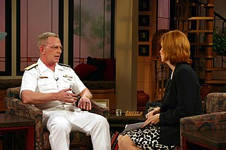 WXIX-TV - Sheila Gray (right) interviews Navy Rear Admiral Miles B. Wachendorf (left) on Fox 19 In The Morning.