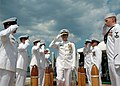 US Navy 080808-N-7668G-273 Vice Adm. John J. Donnelly, Commander, Submarine Force, departs the attack submarine USS Montpelier (SSN 765) following the Commander, Submarine Squadron (SUBRON) 6 change of command.jpg