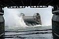 US Navy 081027-N-4680O-027 A Landing Craft Air Cushion (LCAC) from Assault Craft Unit (ACU) 4 prepares to enter the well deck of the multi-purpose amphibious assault ship USS Bataan (LHD 5).jpg
