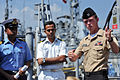 US Navy 100323-N-6406F-948 Mineman 3rd Class Jeremy Holloway explains minesweeping systems used aboard the mine countermeasures ship USS Patriot (MCM 7).jpg