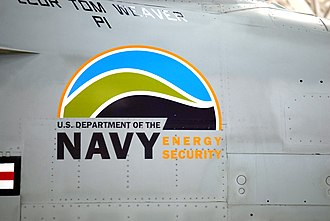 "Energy security - A U.S. Navy F/A-18 Super Hornet displaying an ""Energy Security"" logo."
