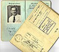 US visa issued by Waldo Emerson Bailey in 1941 while posted to the UK, next to his diplomatic passport from 1950.jpg