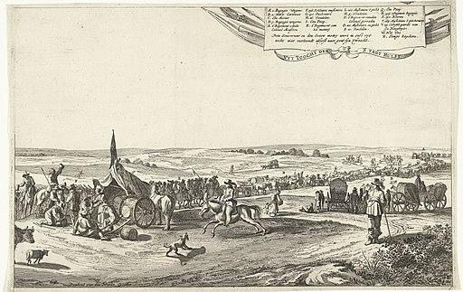 Uittocht van het Spaanse garnizoen uit Hulst (rechterblad), 1645 Uyt Toocht der 'Stadt Hulst (titel op object), RP-P-OB-81.566B