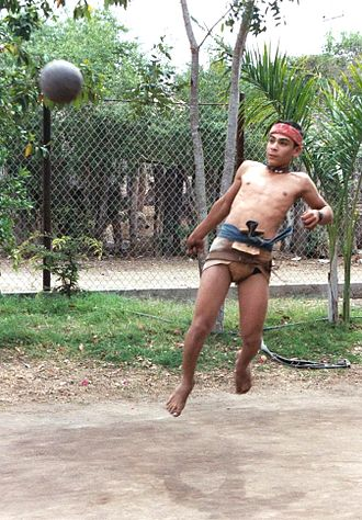 Mesoamerican ballgame - A modern Sinaloa ulama player. The outfit is similar to that worn by Aztec players.