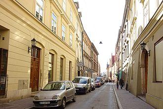 Jagiellońska Street, Kraków - View of crossroad between Szewska Street, to the south-west.