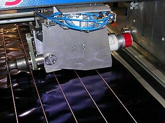 Ultrasonic welding - Ultrasonic welding of thin metallic foils. The sonotrode is rotated along the weld seam.