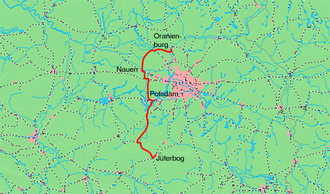 Jüterbog–Nauen railway - The Jüterbog–Nauen railway and the Nauen–Oranienburg railway of the freight bypass