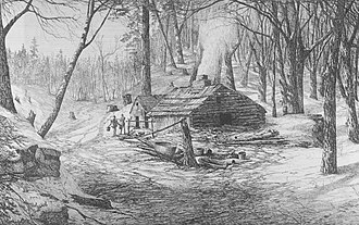 Sugar bush - A sugar shack and bush (1872)