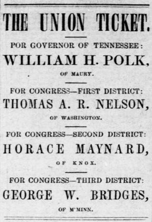 William Hawkins Polk - Newspaper ad for the Union ticket, July 1861