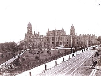 SEPTA subway–surface trolley lines - College Hall and Logan Hall on the campus of the University of Pennsylvania, as viewed from Woodland Avenue c. 1892.