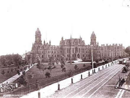 College Hall and Logan Hall on the campus of the University of Pennsylvania, as viewed from Woodland Avenue c. 1892. University of Pennsylvania College Hall.jpg
